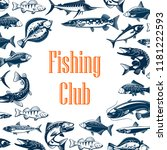 fishing club poster with sea... | Shutterstock .eps vector #1181222593