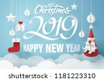 paper art of santa claus... | Shutterstock .eps vector #1181223310