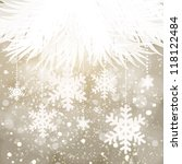 Silver elegant Christmas card with snowflakes - stock vector