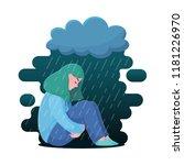 sad  unhappy teenage girl ... | Shutterstock .eps vector #1181226970