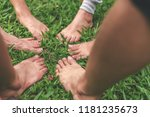 people join feet as a... | Shutterstock . vector #1181235673