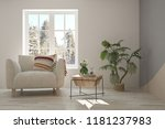 white interior with armchair... | Shutterstock . vector #1181237983