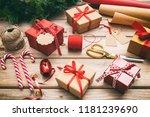christmas preparation. gift... | Shutterstock . vector #1181239690