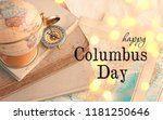 Happy Columbus day Greeting card or background. Globe, books, compass. concept of Columbus day and travel.