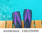 purple fins on the wooden pier. ... | Shutterstock . vector #1181254450