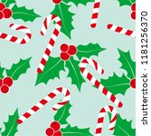 christmas background with holly ... | Shutterstock .eps vector #1181256370