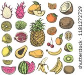 set of fruits. hand drawn... | Shutterstock .eps vector #1181272729