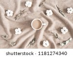 autumn cozy composition. cup of ... | Shutterstock . vector #1181274340