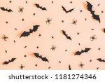 halloween paper decorations on... | Shutterstock . vector #1181274346
