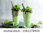 mint chocolate milkshake with... | Shutterstock . vector #1181278903
