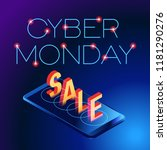 cyber monday web banner. data... | Shutterstock .eps vector #1181290276