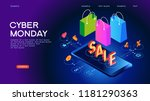 cyber monday web banner. data... | Shutterstock .eps vector #1181290363