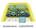 autonomous smart car interior... | Shutterstock .eps vector #1181290549