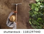 Man farmer working with rake in ...