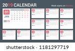 2019 calendar template  planner ... | Shutterstock .eps vector #1181297719