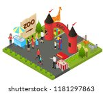 outdoor zoo with wild animals... | Shutterstock .eps vector #1181297863
