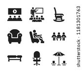 chair icon. 9 chair vector... | Shutterstock .eps vector #1181301763