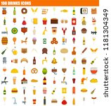 100 food icon set. flat set of... | Shutterstock .eps vector #1181304349