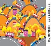 seamless street in autumn | Shutterstock .eps vector #1181306176