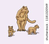 lioness with her cubs. vector... | Shutterstock .eps vector #1181320549