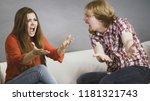 man and woman having horrible... | Shutterstock . vector #1181321743
