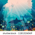 silhouette of sharks  mantas ... | Shutterstock .eps vector #1181326069