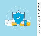 data security flat vector...   Shutterstock .eps vector #1181332033