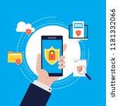 data security flat vector...   Shutterstock .eps vector #1181332066