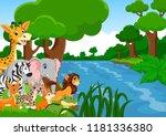 vector illustration of wild... | Shutterstock .eps vector #1181336380