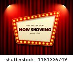 cinema theater retro sign on... | Shutterstock .eps vector #1181336749