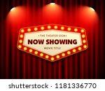 cinema theater retro sign on...   Shutterstock .eps vector #1181336770