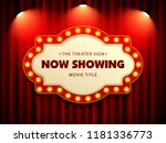 cinema theater retro sign on... | Shutterstock .eps vector #1181336773