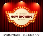 cinema theater retro sign on... | Shutterstock .eps vector #1181336779