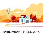 autumn landscape. suburban... | Shutterstock .eps vector #1181337016
