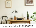 framed drawing on a white wall... | Shutterstock . vector #1181338093