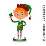 cute elf holding a mistletoe   Shutterstock . vector #118133836