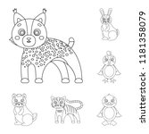toy animals outline icons in... | Shutterstock .eps vector #1181358079