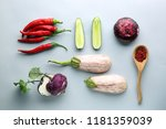 different vegetables on color... | Shutterstock . vector #1181359039
