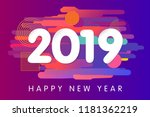 2019 happy new year card design.... | Shutterstock .eps vector #1181362219