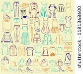 vector set with hand drawn... | Shutterstock .eps vector #1181368600