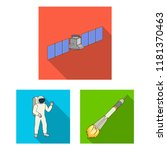 space technology flat icons in... | Shutterstock .eps vector #1181370463
