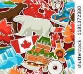 canada sticker seamless pattern.... | Shutterstock .eps vector #1181372380