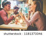 happy millennials friends... | Shutterstock . vector #1181373346