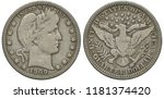 United States US silver coin 1/4 quarter dollar 1909, laureate Liberty head surrounded by thirteen stars right, eagle with shield on chest holding olive branch and bundle of arrows in talons,
