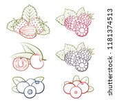 set of berries icons on a white ... | Shutterstock .eps vector #1181374513