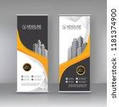 yellow black roll up banner... | Shutterstock .eps vector #1181374900