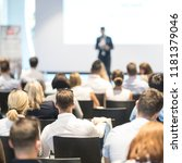 speaker giving a talk in... | Shutterstock . vector #1181379046
