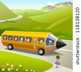 kids going to school by pencil ... | Shutterstock .eps vector #118138120