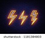 lightning bolt set neon signs.... | Shutterstock .eps vector #1181384803