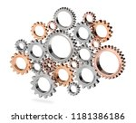3d gear isolated on white... | Shutterstock . vector #1181386186